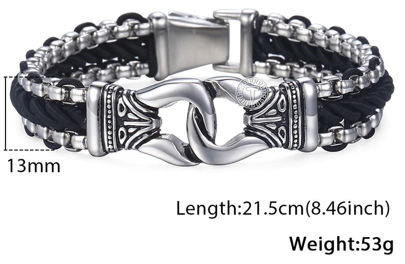 Leather Strand Stainless Steel Knot Bracelet
