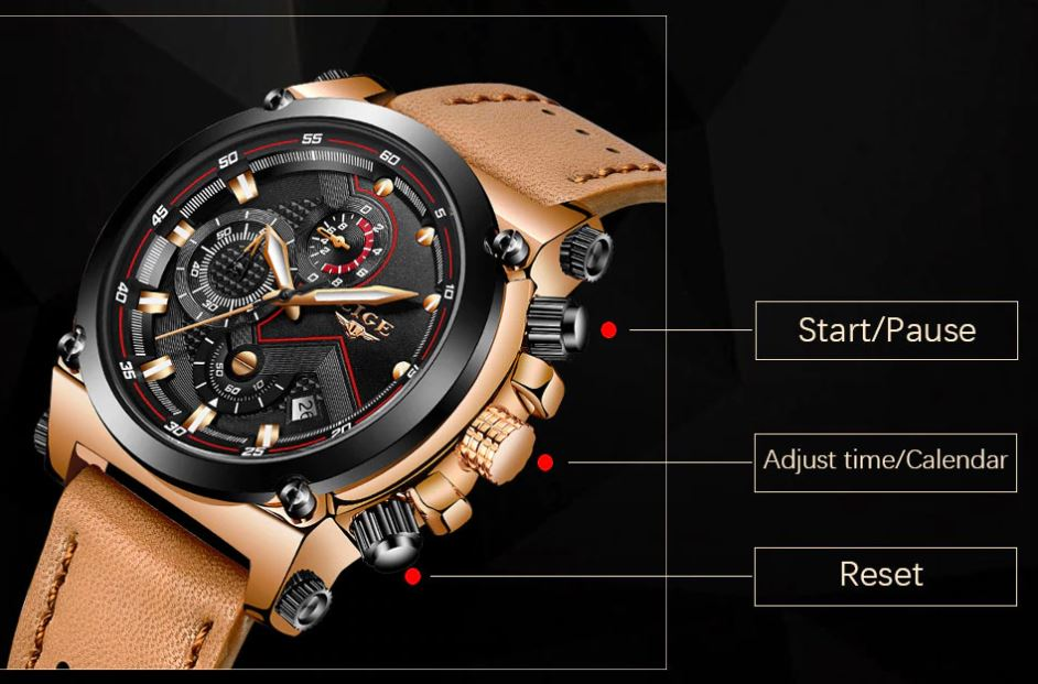 Male Leather Automatic date Quartz Watches
