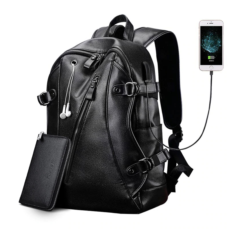 Fashion Leather Travel Waterproof Backpack Mens Backpacks
