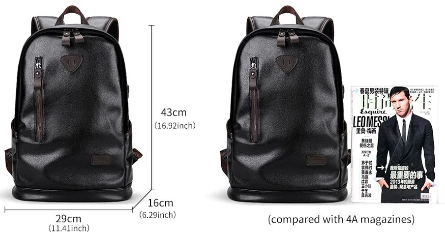 Fashion Leather Travel Waterproof Backpack