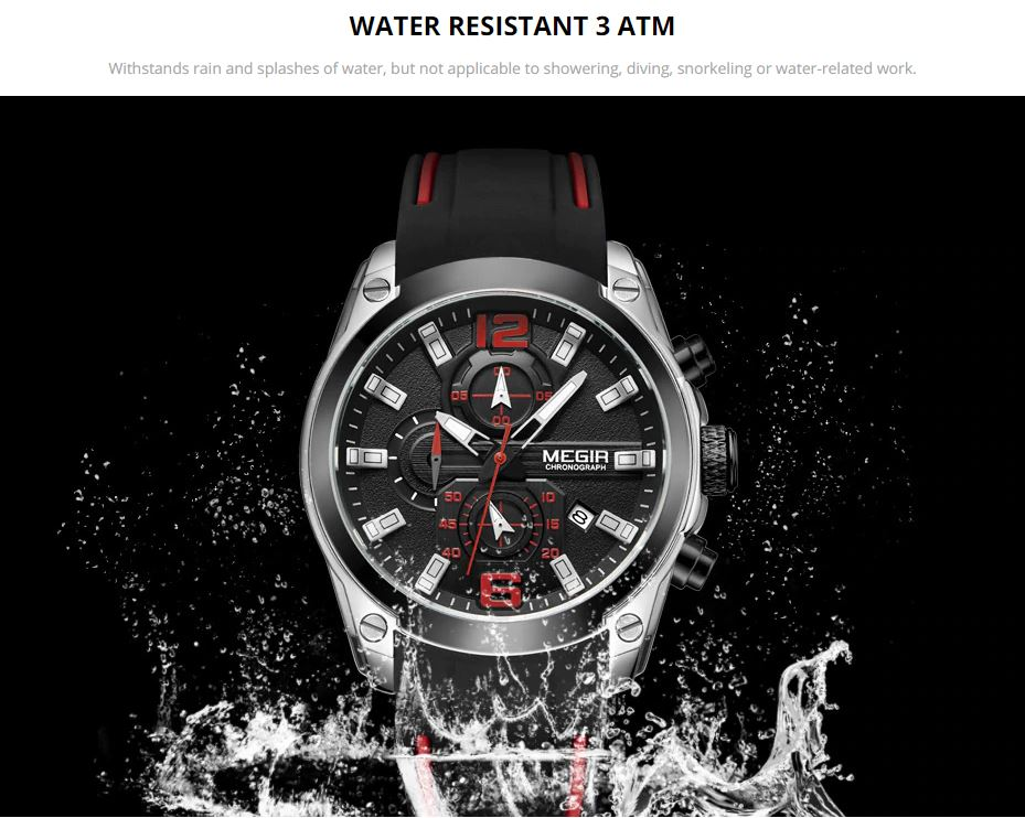 Waterproof Silicone Rubber Strap Wristswatch for Man