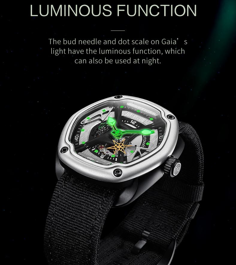 Luminous Dial Leather Strap Automatic Creative Design Watch