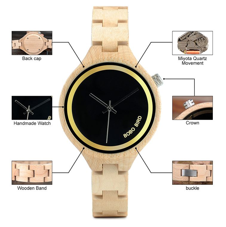 Wooden Band Exquisite Ladies Quartz Watches