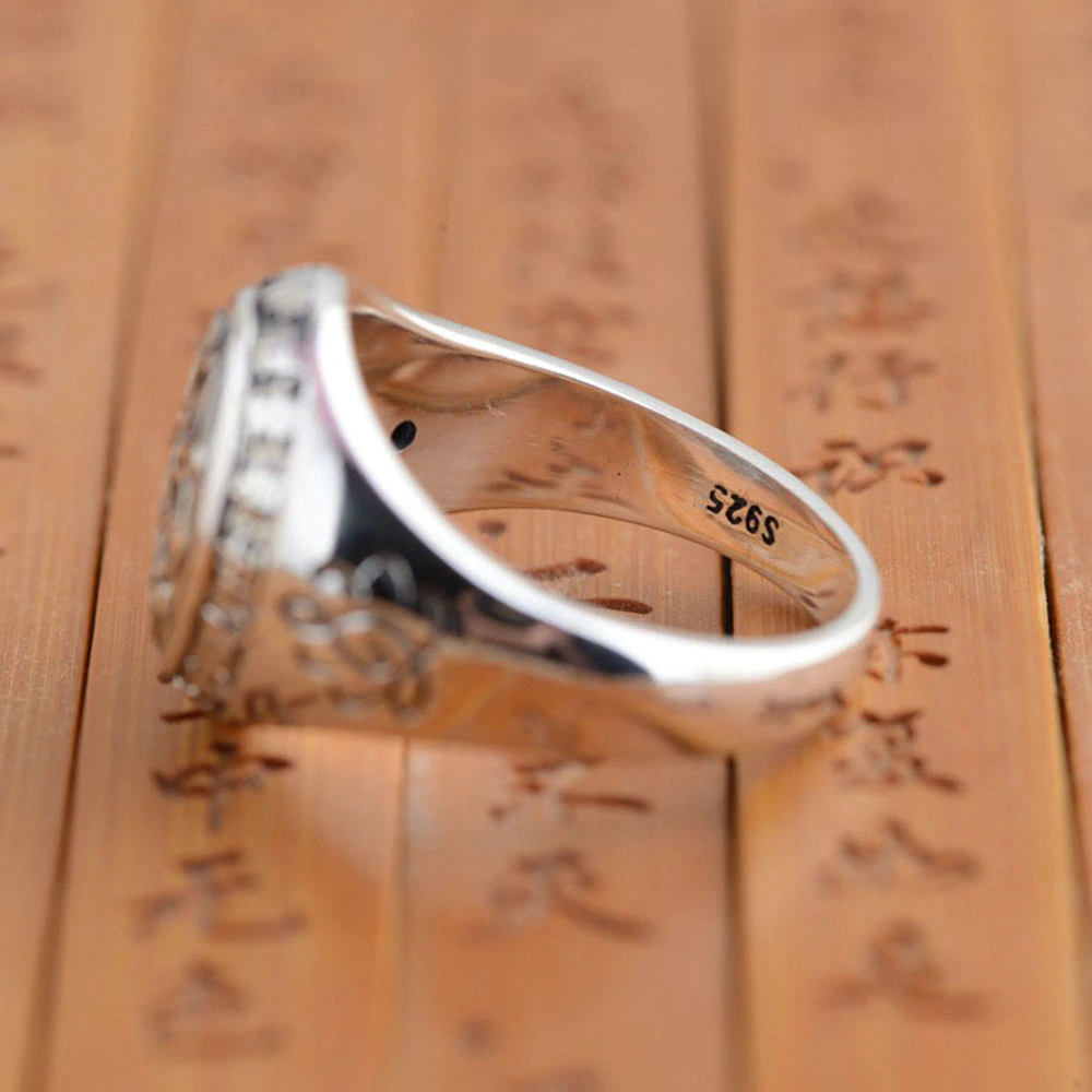 Silver Vintage Buddha Six Words Mantra Ring Mens Rings Silver Rings
