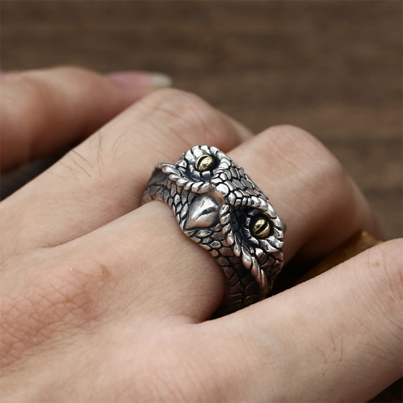 925 Silver Adjustable Owl Ring Mens Rings Silver Rings