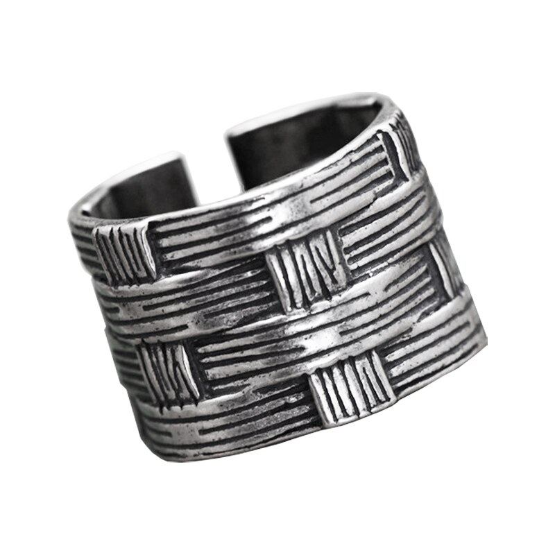 Solid 925 Sterling Silver Braided Ring Mens Rings Silver Rings