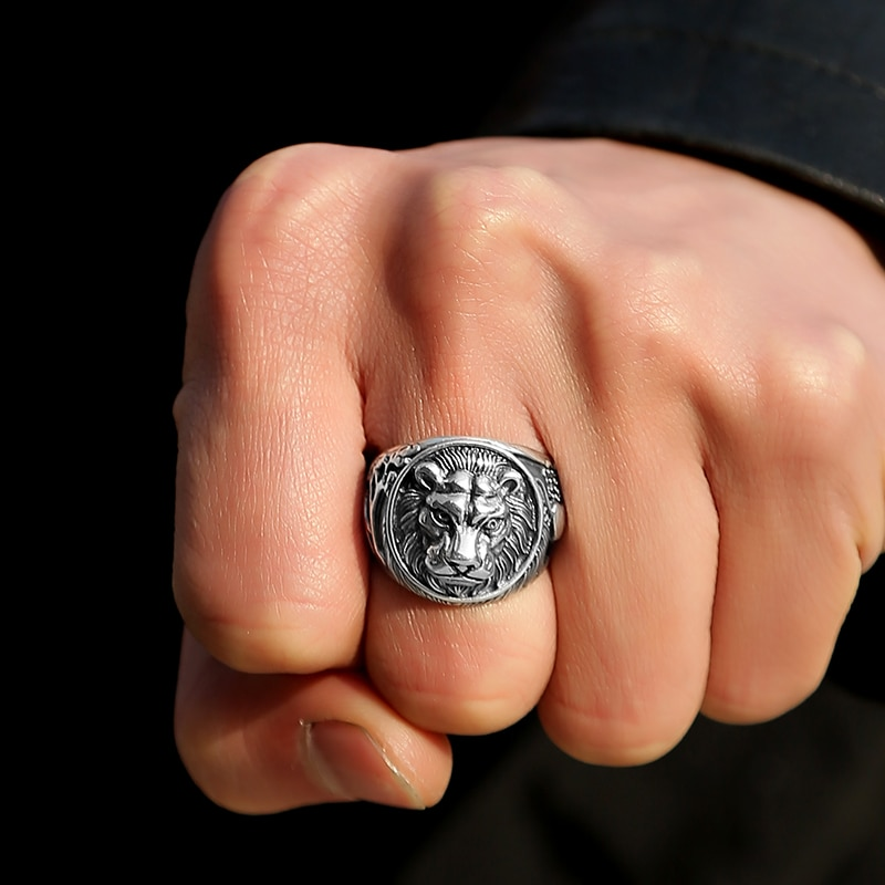 925 Silver Vintage Lion Ring Mens Rings Silver Rings