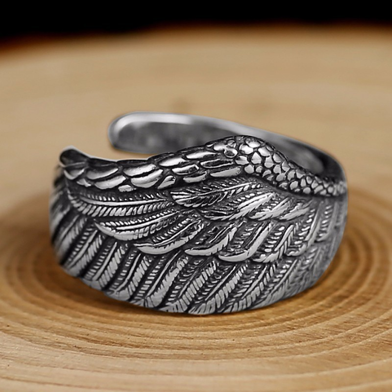 925 Silver Eagle Wing Feather Ring Mens Rings Silver Rings