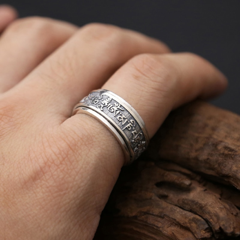 Silver Buddhist Heart Sutra Rotate Ring Mens Rings Silver Rings