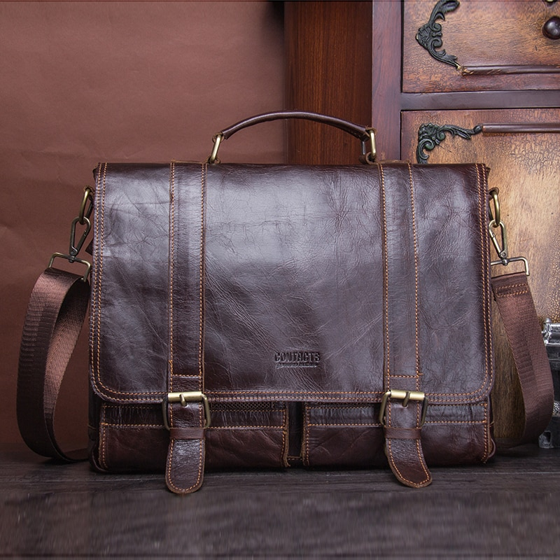 Genuine Leather Business Vintage Large Briefcase Mens Briefcases