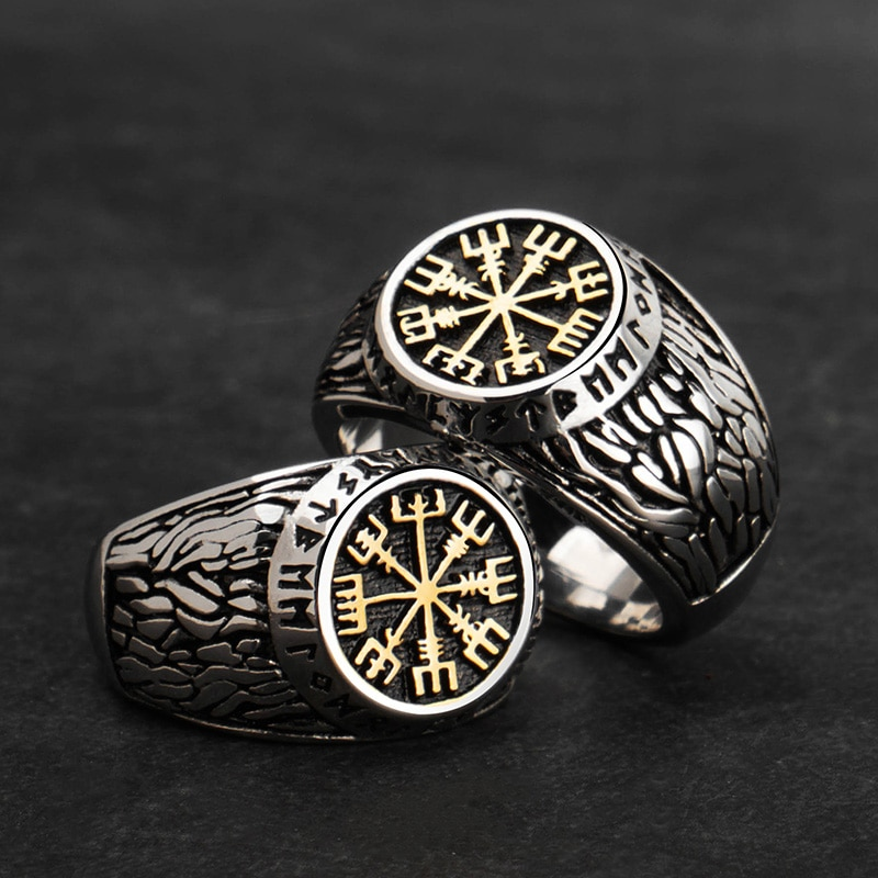 Viking Rune Stainless Steel Ring Mens Rings Signet Rings Steel Rings