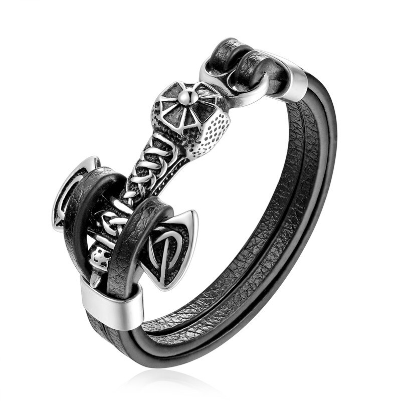 Stainless Steel Double Wolf Shackles Leather Bracelet Leather Bracelets Mens Bracelets