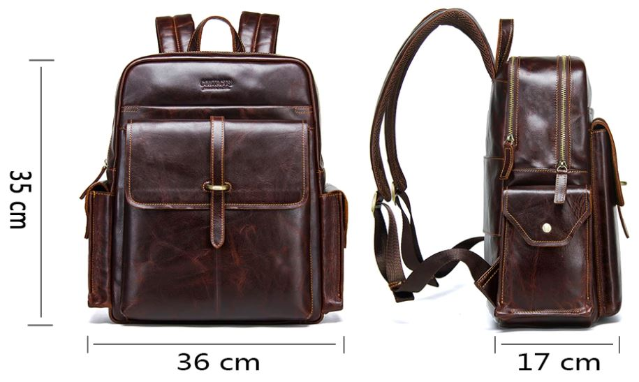Genuine Leather Casual Large Travel Backpack