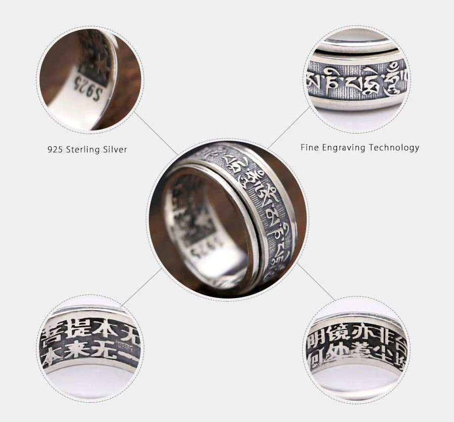 Silver Buddhist Heart Sutra Rotate Ring