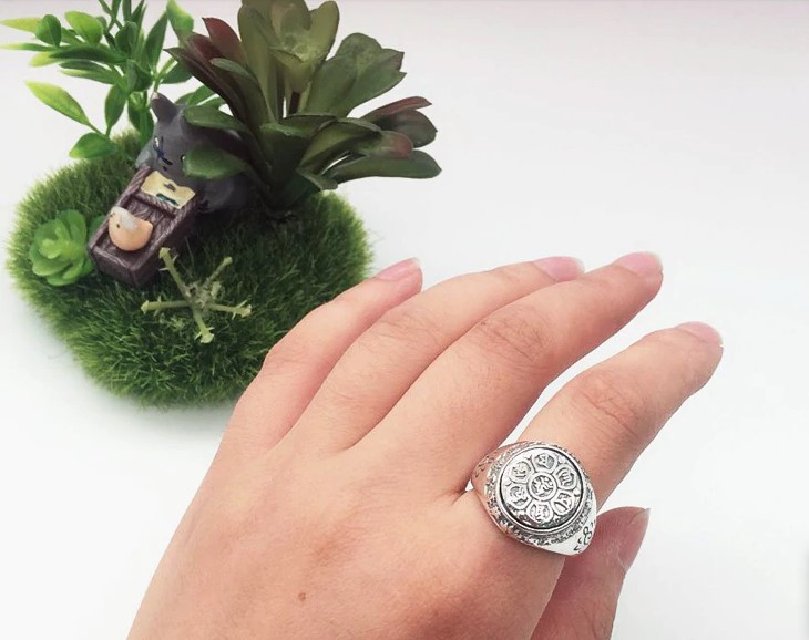 Silver Vintage Buddha Six Words Mantra Ring