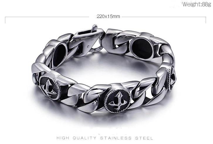 Stainless Steel Men's Cross Bracelet