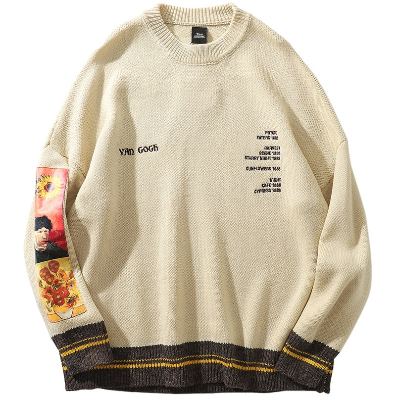Van Gogh Painting Embroidery Knitted Sweater Men's Clothing Mens Hoodies