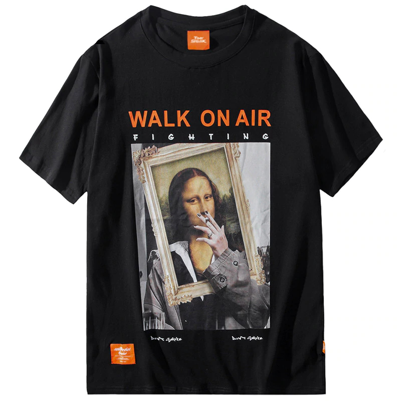 Funny Smoking Mona Lisa T-Shirt Men's Clothing Mens T-Shirts