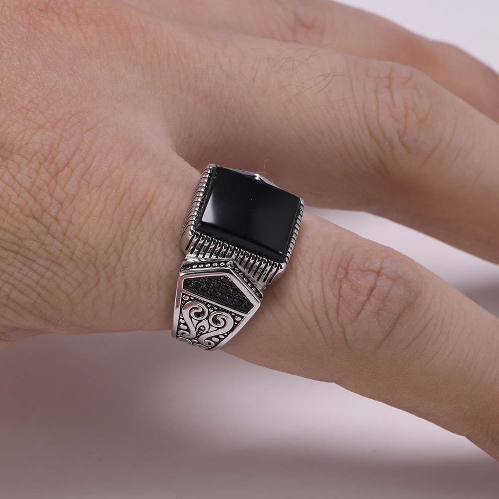 Silver Signet Ring With Onyx Mens Rings Signet Rings Silver Rings