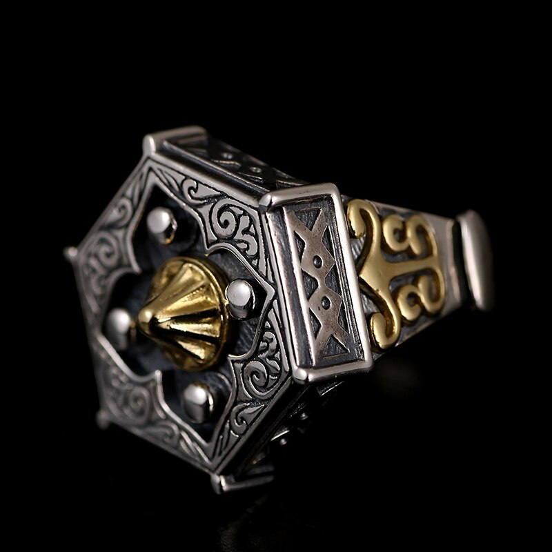 Silver Flowers And Eight Trigrams Ring Mens Rings Silver Rings