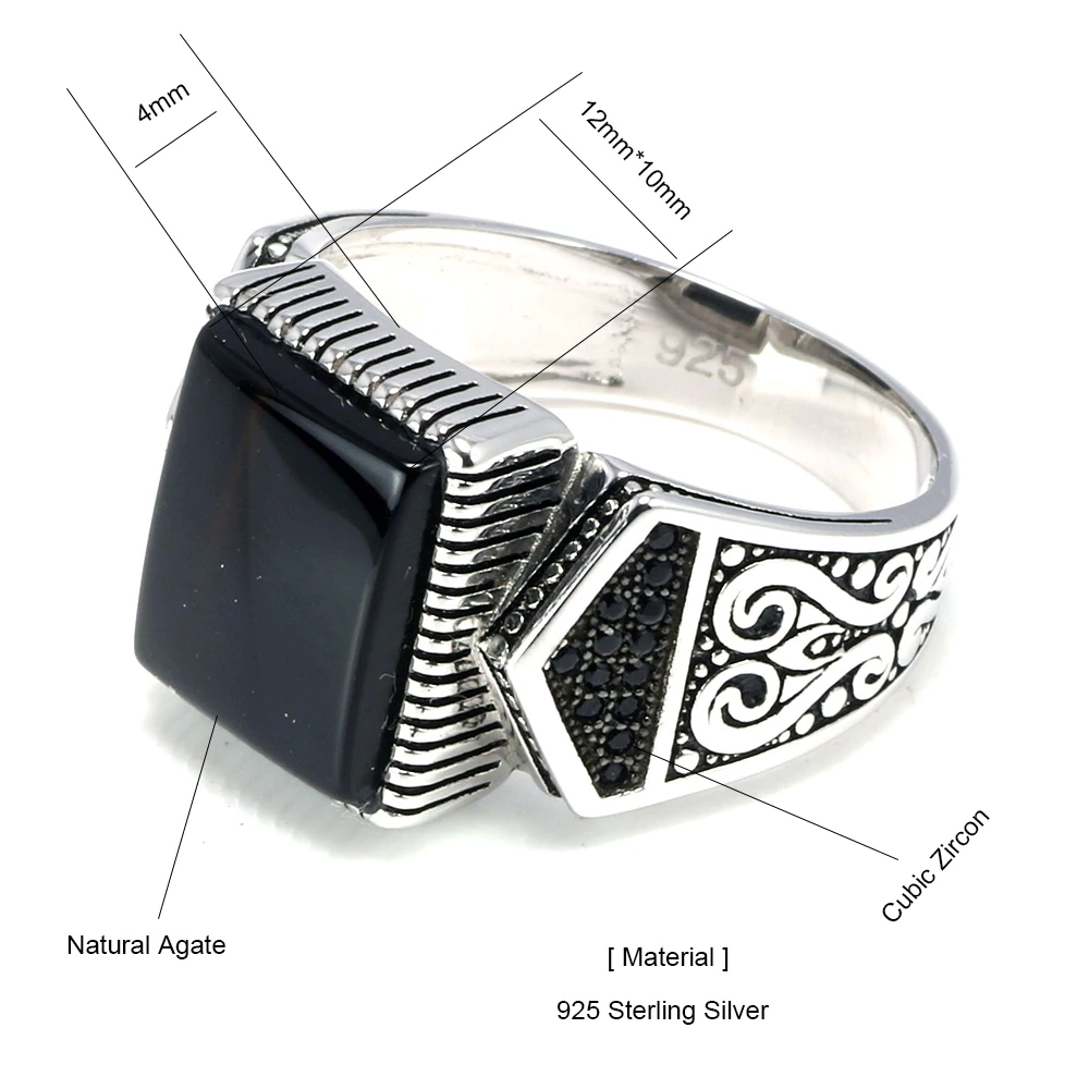 Silver Signet Ring With Onyx