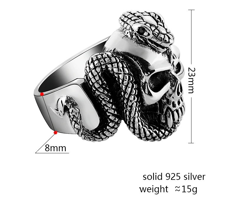 Silver Skull Ring With Snake