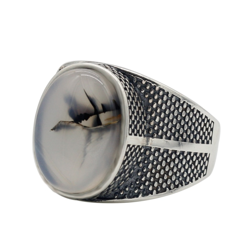 925 Sterling Silver Big Natural Onyx Stone Ring Mens Rings Signet Rings Silver Rings