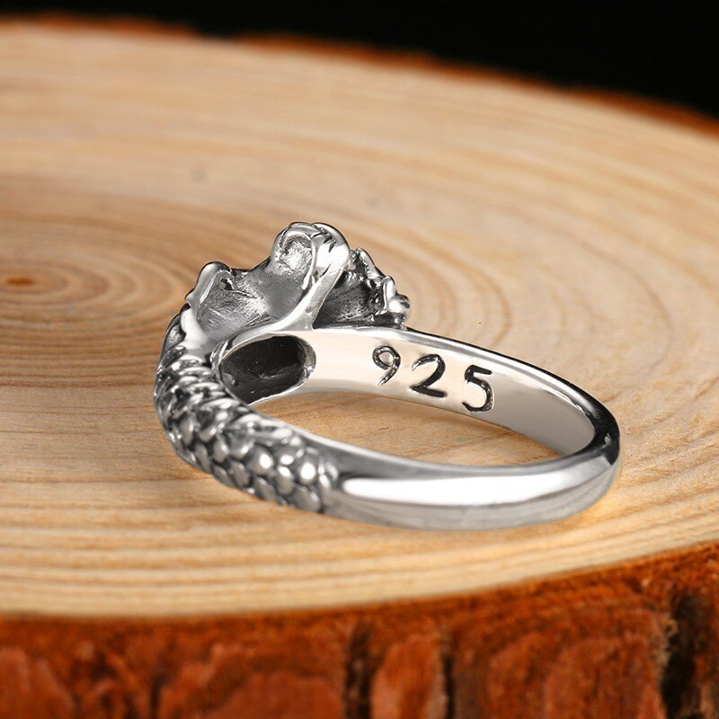 925 Sterling Silver Vintage Dragon Ring Mens Rings Silver Rings