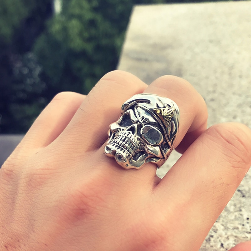 Solid 925 Silver One Eye Mask Skull Ring Mens Rings Silver Rings Skull Rings