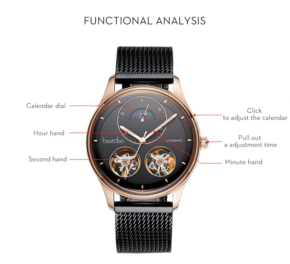 Double Tourbillon Switzerland Automatic Mechanical Watches