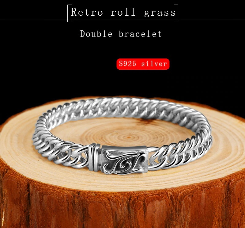 Silver Rolled Grass Double Braided Bracelet