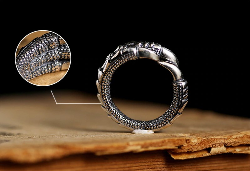 Silver Steampunk Eagle Paw Open Ring