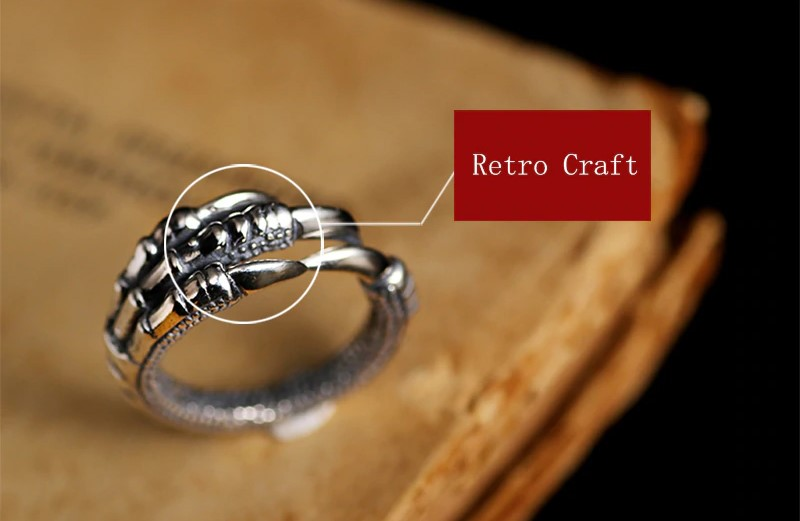 Solid 925 Sterling Silver Steampunk Eagle Paw Open Rings For Men