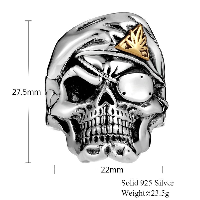 Solid 925 Silver One Eye Mask Skull Ring