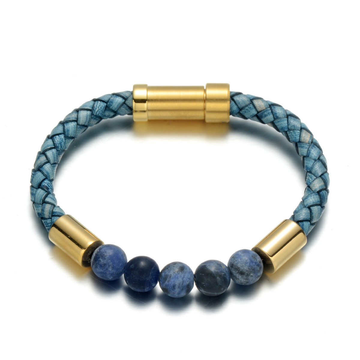 Blue-Veins Natural Stone Braided Leather Charm Bracelet Leather Bracelets Mens Bracelets