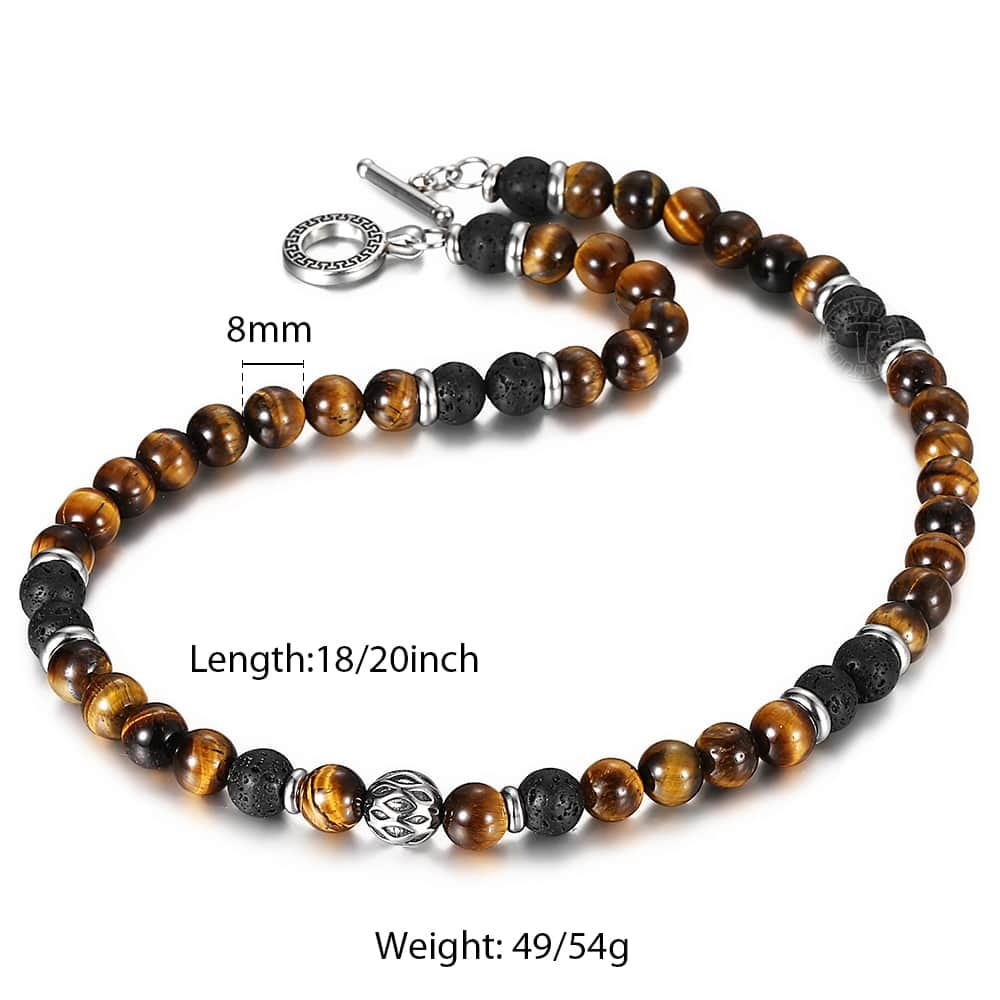 Natural Tiger Eyes Stone Lava Bead Necklace