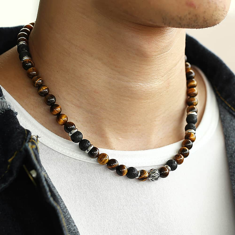 Natural Tiger Eyes Stone Lava Bead Necklace Men's Jewellery Mens Necklaces & Pendants