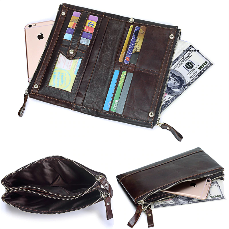 Genuine Leather Double Zipper Clutch Wallet Mens Wallets Men's Accessories