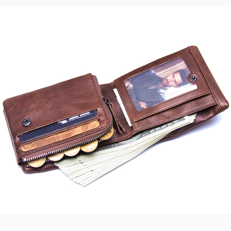 Genuine Leather Zip Coin Pocket Wallet Mens Wallets Men's Accessories