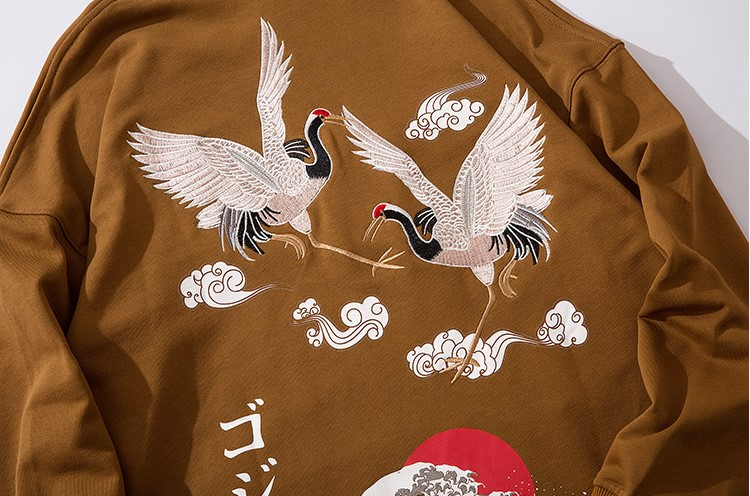 Kanji Crane Embroidery Hoodies Sweatshirt Men's Clothing Mens Hoodies