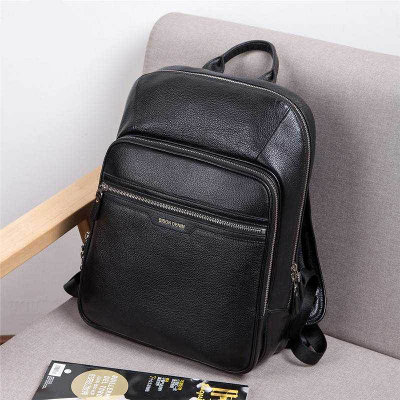 Genuine Leather Male 14 inch Fashion Travel Backpack Men's Luggage & Bags Mens Backpacks