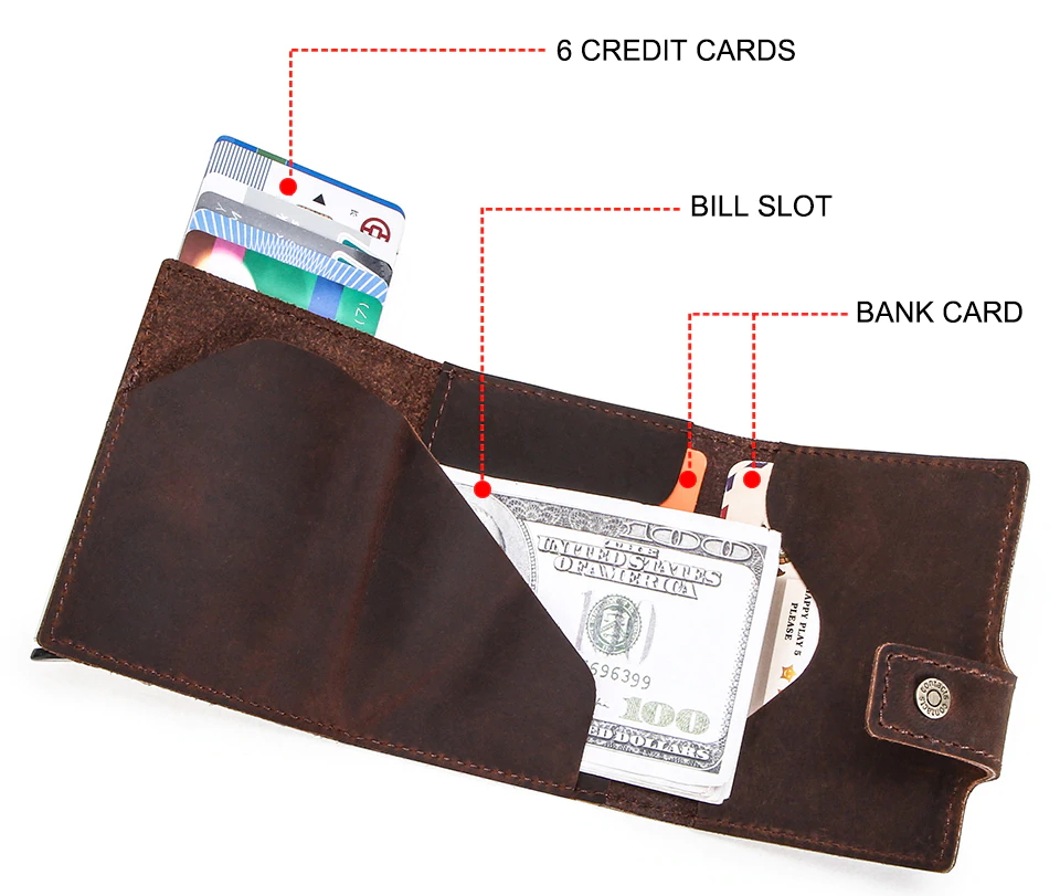 Genuine Leather RFID Credit Card Aluminum Box Automatic Pop Up Wallet Mens Wallets Men's Accessories