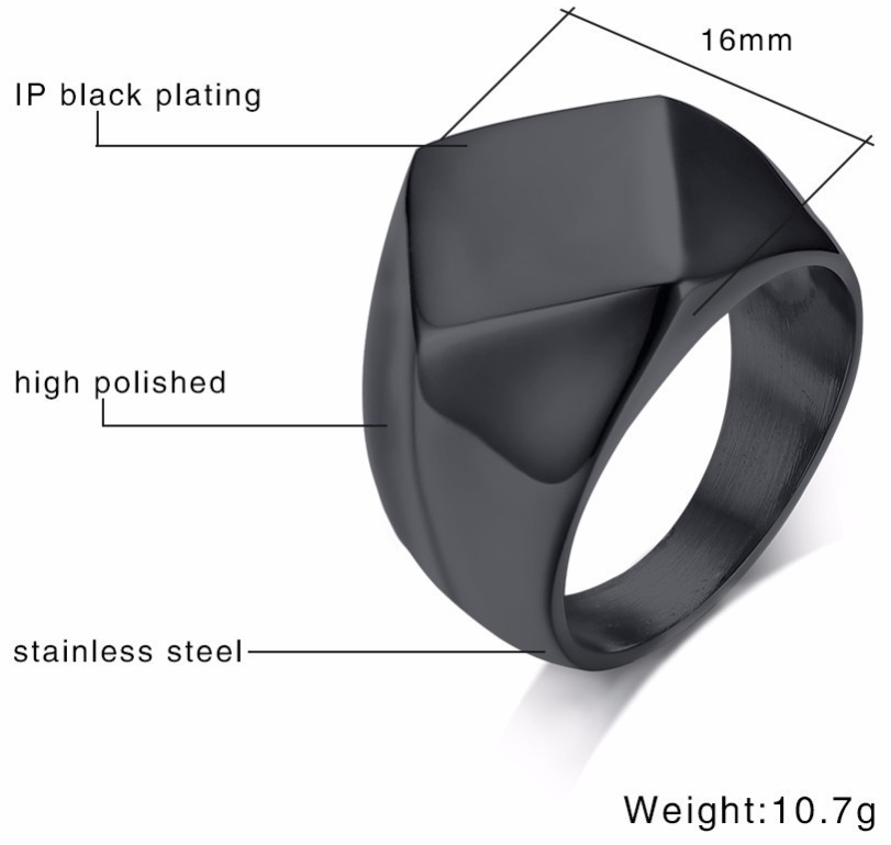 Stainless Steel Flat Top Square Signet Ring Mens Rings Signet Rings Steel Rings