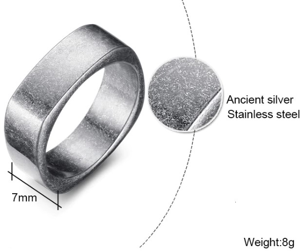 Stainless Steel Gents Square Rustic Ring Mens Rings Steel Rings