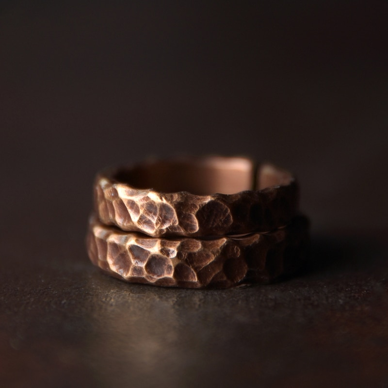Vintage Hand Beaten Solid Copper Ring Mens Rings Women's Rings