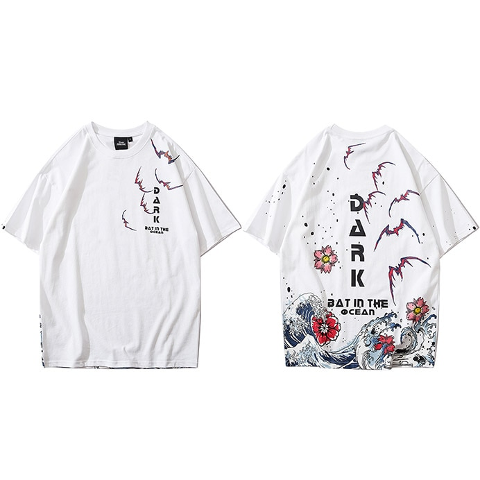 Japanese Great Wave Short Sleeve T-Shirt Men's Clothing Mens T-Shirts Color: A702017 White Size: XL