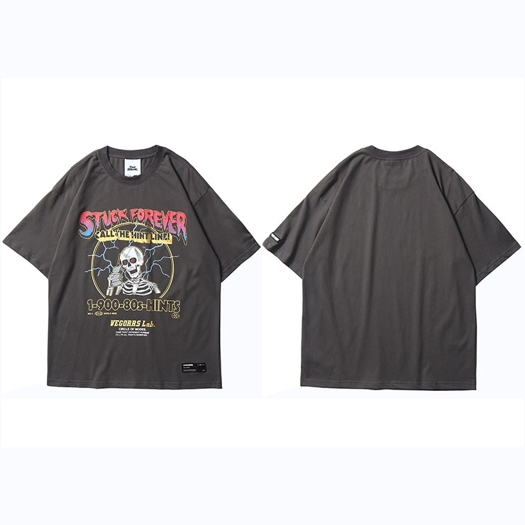 Print Lightning Skull Short Sleeve Cotton T-Shirt Men's Clothing Mens T-Shirts Color: A47T289 Grey Size: Asian L