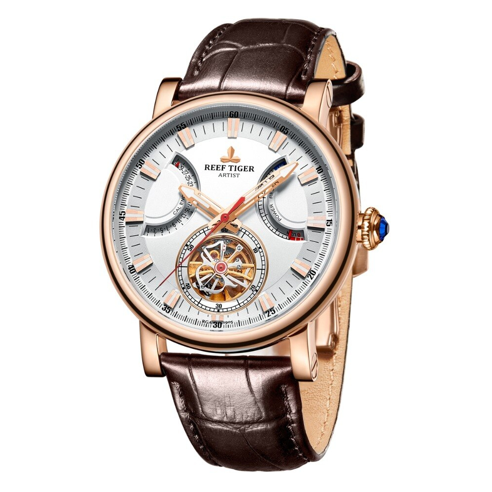 Leather Strap Automatic Self-Wind Mechanical Watches Men's Watches Mens Mechanical Watches