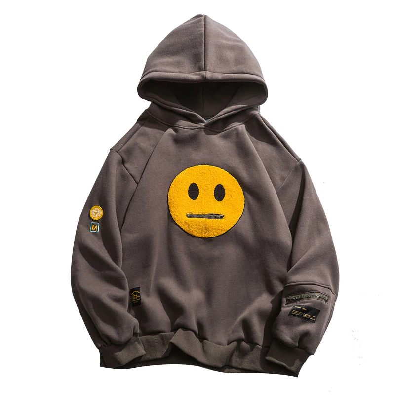 Smile Face Patchwork Hoodies Sweatshirts Men's Clothing Mens Hoodies