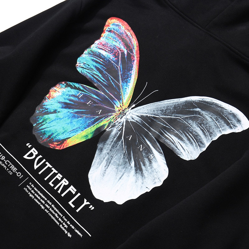Print Butterfly Sweatshirt Hoodie Men's Clothing Mens Hoodies